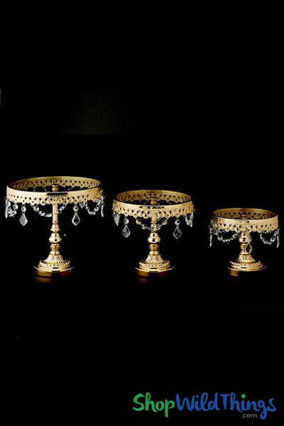 Glass Top Beaded Cake Stand / Riser - Set of 3 - Gold Metal