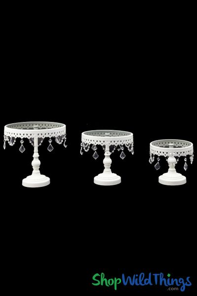 Glass Top Beaded Cake Stand / Riser - Set of 3 - White Metal
