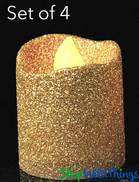 LED Flameless Votive Candles - Gold Glitter - Set of 4 - 1 1/2""