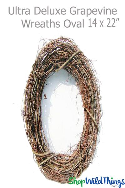 """COMING SOON! Grapevine Wreath 14"""" x 22"""" Oval - Premium, Ultra-Deluxe (hang & drape with floral/crystals)"""