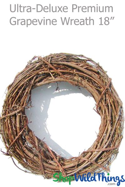 "Grapevine Wreath 18"" Round - Premium, Ultra-Deluxe (Hang & Drape with Floral/Crystals)"