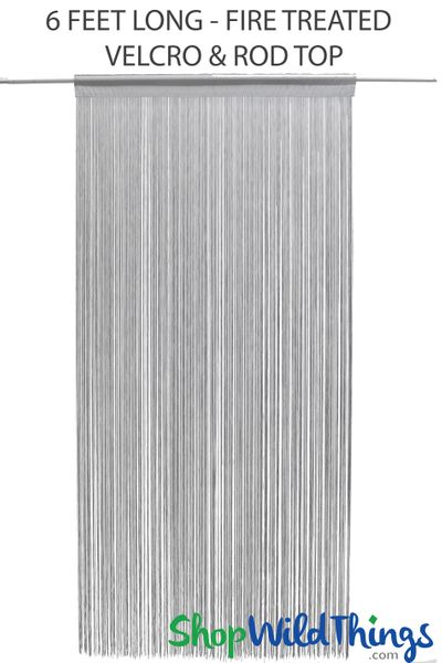 "String Curtain Silver Gray 34 1/2In x 6Ft Fire Treated - Polyester & Cotton ""Nassau"" Velcro Top & Rod Pocket"