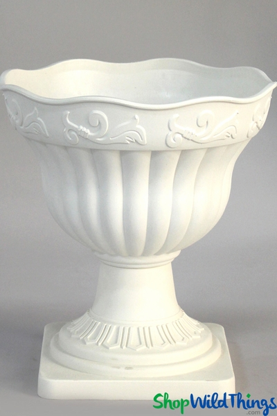 Grecian Planter & Urn - Scalloped Rim - White 14""
