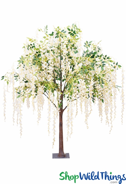 Greenery & Ivory Flowering Weeping Tree - 6.5 Feet Tall