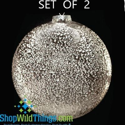 """SALE! Hammered Silver Finish Glass Disc Ornament - Set of 2, 6"""" Diameter"""