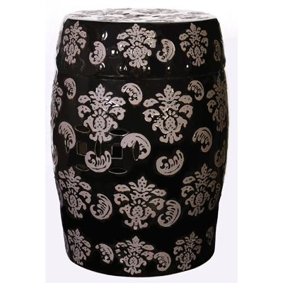 "CLEARANCE! ""Hampton"" Black Garden Stool with Tan Fleur De Lis Designs 19"" x 12.5"""