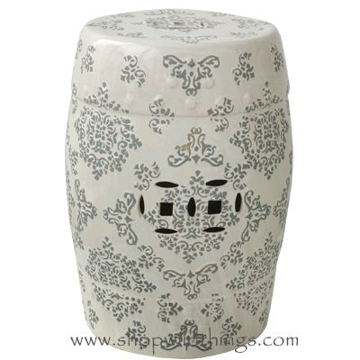 "CLEARANCE! Hampton Garden Stool - White w/ Gray Pattern 18"" x 11"""