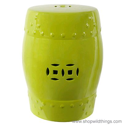 "CLEARANCE! ""Hampton"" Lime Green Garden Stool - 14"" x 18"""