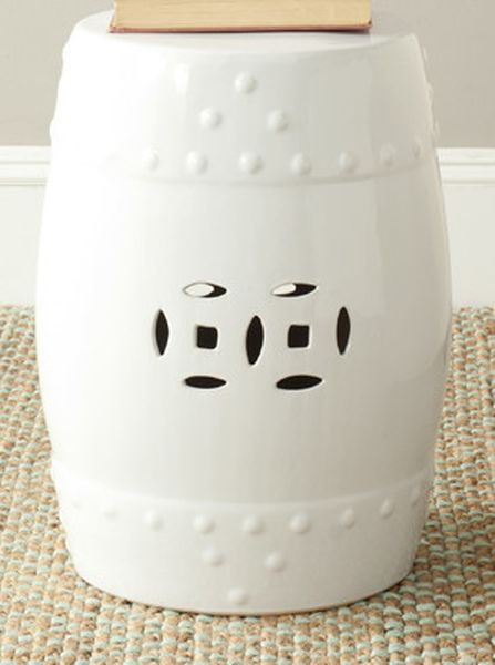 """Hampton"" White  Ceramic Garden Stool 18"" x 14"""