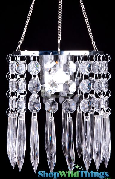 "Hanging Elegant Crystal Candle Holder ""Deedee"" - 6"" x 6"""