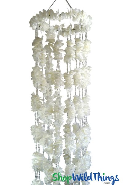 COMING SOON! Hanging Flower Column 8 Feet Long - White Plumeria & Crystals