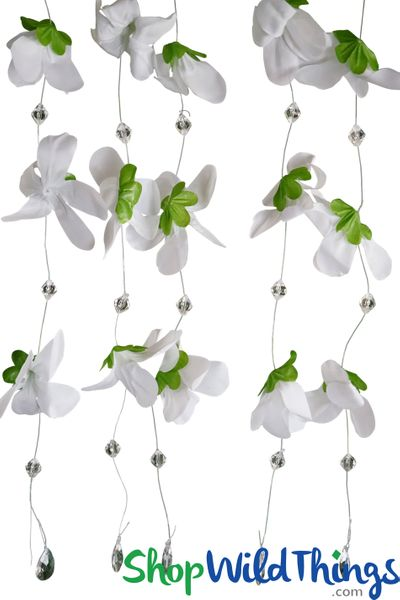 "Hanging Flower Garland with Beads ""Kamala"" - White 22"" - 12 Strands Included"