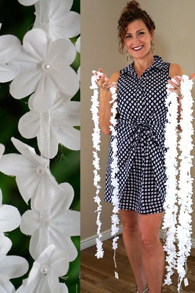 """Hanging Dainty Flowers with Pearls """"Lea"""" - White 82"""""""