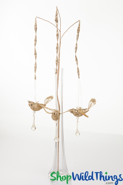 SALE ! Hanging Glitter Bird Spray, Gold, 26""