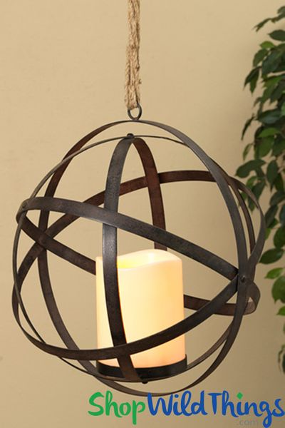 "COMING SOON! Hanging Metal Sphere - Flickering LED Candle w/Timer 13 1/2"" - Orb Folds Flat! Add Florals!"