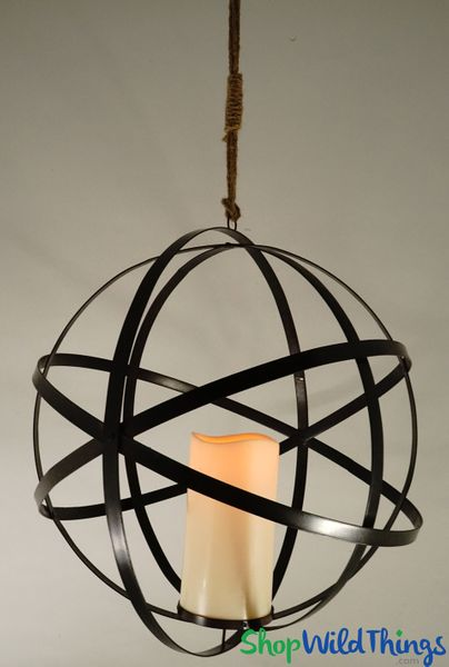 "Hanging Metal Sphere - Flickering LED Candle w/Timer - 20"" - Orb Folds Flat! Add Florals!"