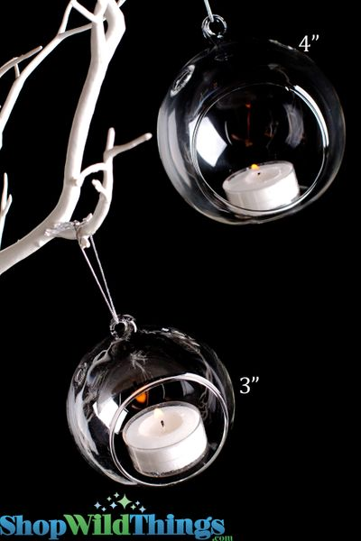 "Hanging (or Table Top) Round Glass Candle Holder 4"" Diameter"