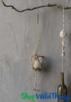 """COMING SOON! Hanging Glass & Macrame Candle Holder - 26.75"""" Long"""