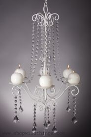 "Chandelier ""Hayden"" White Crystal - 16.7"" x 28"" - 6 Candle Plates"