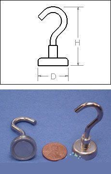 "Heavy Duty Mounting Magnet With Open Hook - Holds 50 pounds - 1 1/4"" - Set of 2"