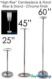 """High Rise"" Chrome Adjustable 22"" to 60"" Tall Centerpiece Riser"