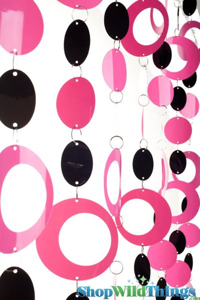 Hoops Beaded Curtain -  Pink & Black - 35 in x 6 ft