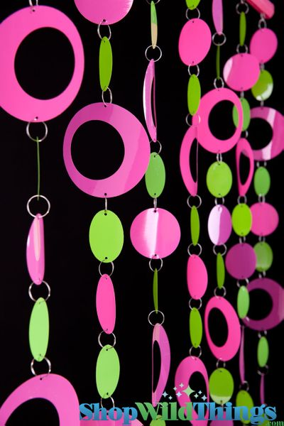 Hoops Beaded Curtain -  Pink & Lime - 3 ft x 6 ft
