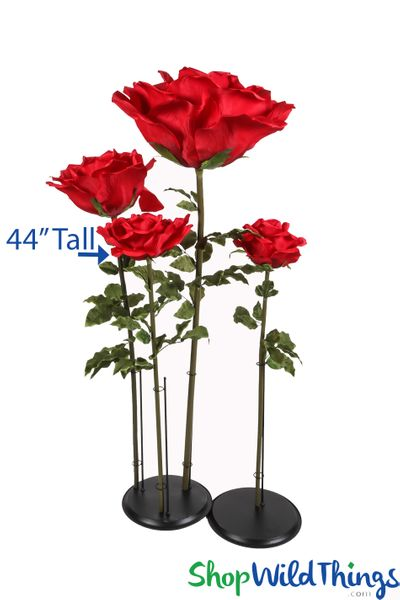 "Oversized Large Silk Rose Bloom w/Removable Stem - Red - 44""H x 14""W"