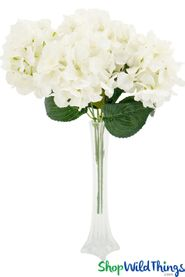 "Hydrangea Flower Bouquet Spray - 6 Heads - 17"" - Cream"