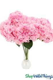 "Hydrangea Flower Bouquet Spray - 6 Heads - 17"" - Pink"