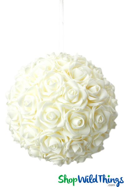 "Real Feel Flower Ball - Foam Rose - Pomander Kissing Ball - 9 1/2"" Ivory - BUY MORE, SAVE MORE!"