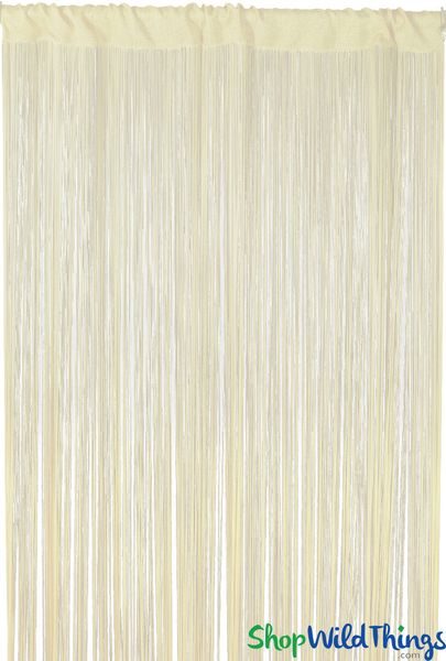 """String Curtain Ivory 3 FT x 7.3 FT (88"""") Polyester & Cotton """"Nassau"""""""