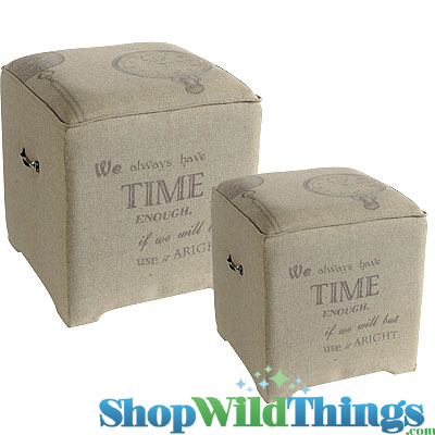 "CLEARANCE! Johann Wolfgang von Goethe Burlap End Tables - Set of 2! 20"" and 16"" Square"