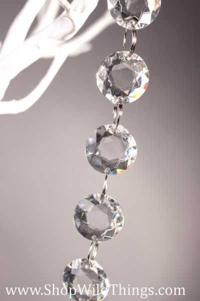 "COMING SOON! ""Jubilee"" 30 Foot Long - Faceted Small Thick Circles Garland - Hand Strung - Crystal Clear"