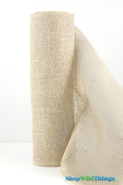 "Jute Natural Fabric Bolt Ivory 19.7""x10yd -  High Quality Open Weave"