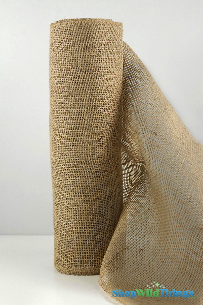 "Jute Natural Fabric Bolt Natural 19.7""x10yd - High Quality Open Weave"