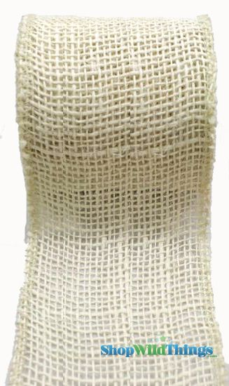 "SALE ! Jute Natural Fabric Roll Ivory 2.5""x10yd - High Quality Open Weave"