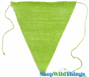 "1 LOT AVAILABLE! CLEARANCE Jute Triangle Banner 8x10"" - Apple Green - 98 Pcs!"