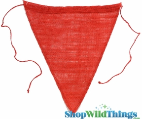 """1 LOT AVAILABLE! CLEARANCE Jute Triangle Banner 8x10"""" - Red - 118 Pcs!"""