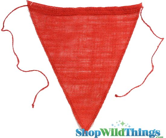 "1 LOT AVAILABLE! CLEARANCE Jute Triangle Banner 8x10"" - Red - 118 Pcs!"