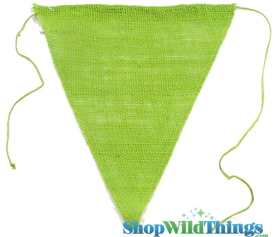 "1 LOT AVAILABLE! CLEARANCE Jute Triangle Banner 9.5x12"" - Apple Green - 139 Pcs!"