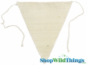 "1 LOT AVAILABLE! CLEARANCE Jute Triangle Banner 9.5x12"" - Ivory - 144 Pcs!"