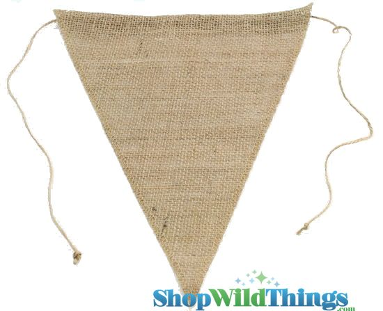 "1 LOT AVAILABLE! CLEARANCE Jute Triangle Banner 9.5x12"" - Natural - 162 Pcs!"