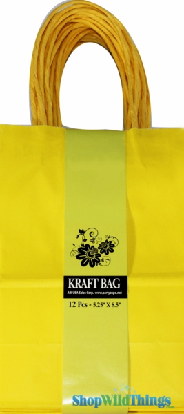 1 LOT AVAILABLE! CLEARANCE Kraft Bag w/Band, Yellow - 324 Pcs!