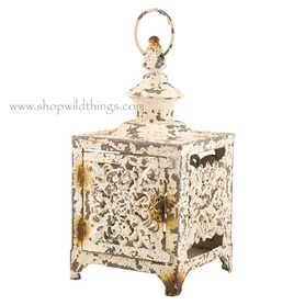 CLEARANCE! Lantern Fleur De Lis - Distressed White 13.5""