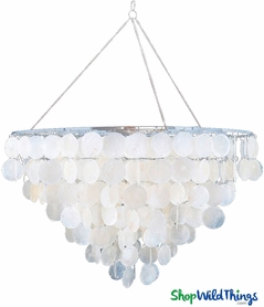 "Chandelier ""Natalie"" Real Capiz Shells 6 Tier - 2 Feet Wide"