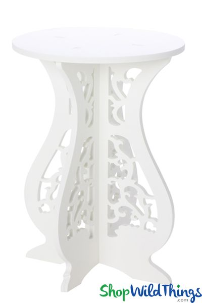 "Laser Cut Wood Pedestal Table Accent Piece 15 1/2"" Tall"