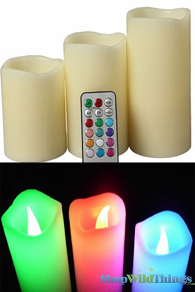 LED Color Changing Wax Pillar Candles - Set of 3 - Remote w/12 Color Options & Timer