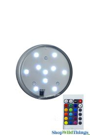 "LED Colored Disc w/Remote -  Submersible -  2.75"" RGB & White Lights"