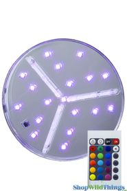 "LED Colored Light Base w/Remote -  6"" RGB & White Lights"